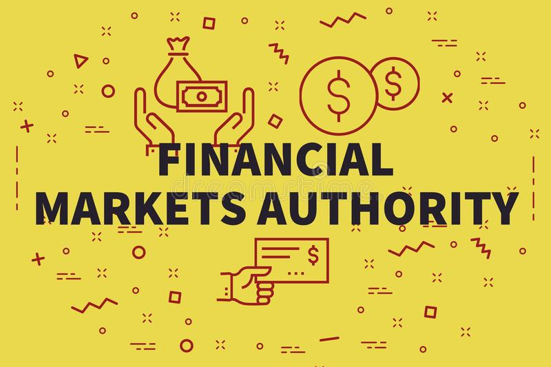 Conceptual business illustration with the words financial market. S authority royalty free illustration