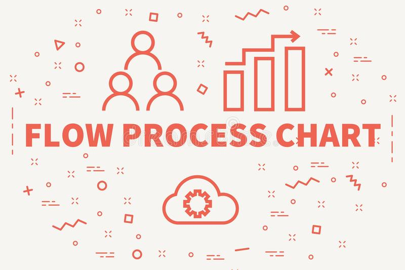Conceptual business illustration with the words flow process chart vector illustration