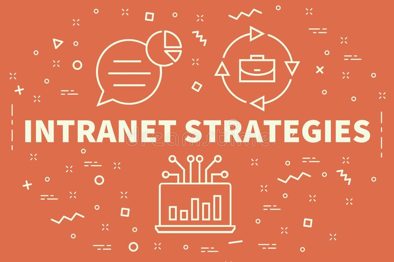 Conceptual business illustration with the words intranet strategies royalty free illustration
