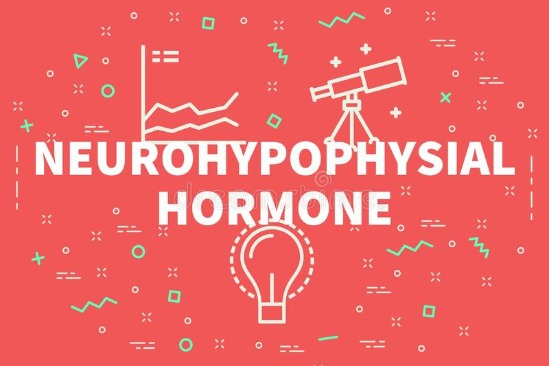 Conceptual business illustration with the words neurohypophysial hormone stock illustration