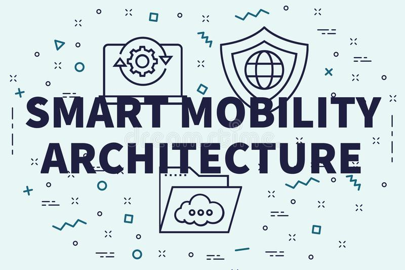 Conceptual business illustration with the words smart mobility a. Rchitecture royalty free illustration