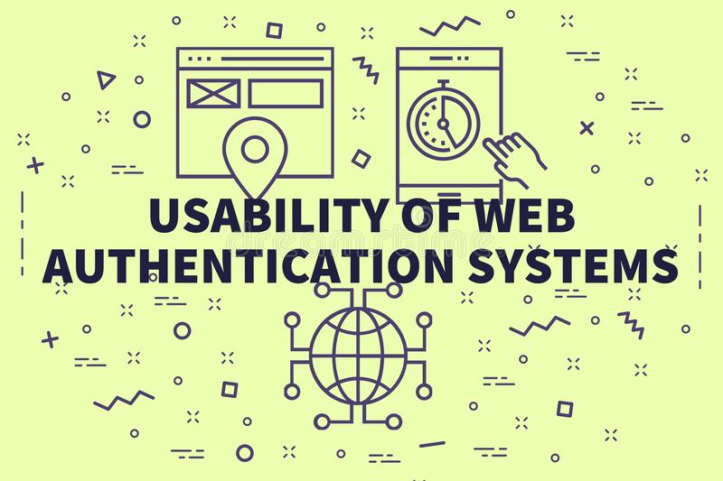 Conceptual business illustration with the words usability of web. Authentication systems royalty free illustration