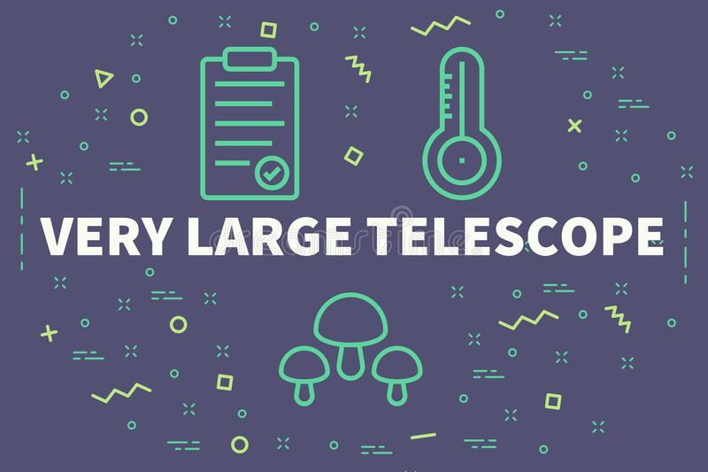 Conceptual business illustration with the words very large telescope stock illustration