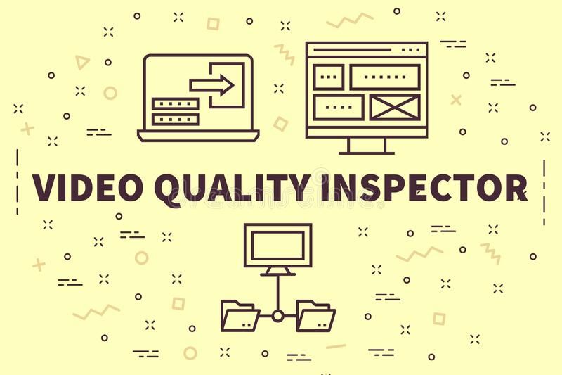 Conceptual business illustration with the words video quality in stock illustration