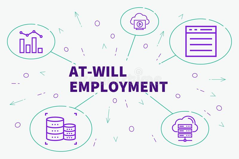 Conceptual business illustration with the words at-will employment royalty free illustration