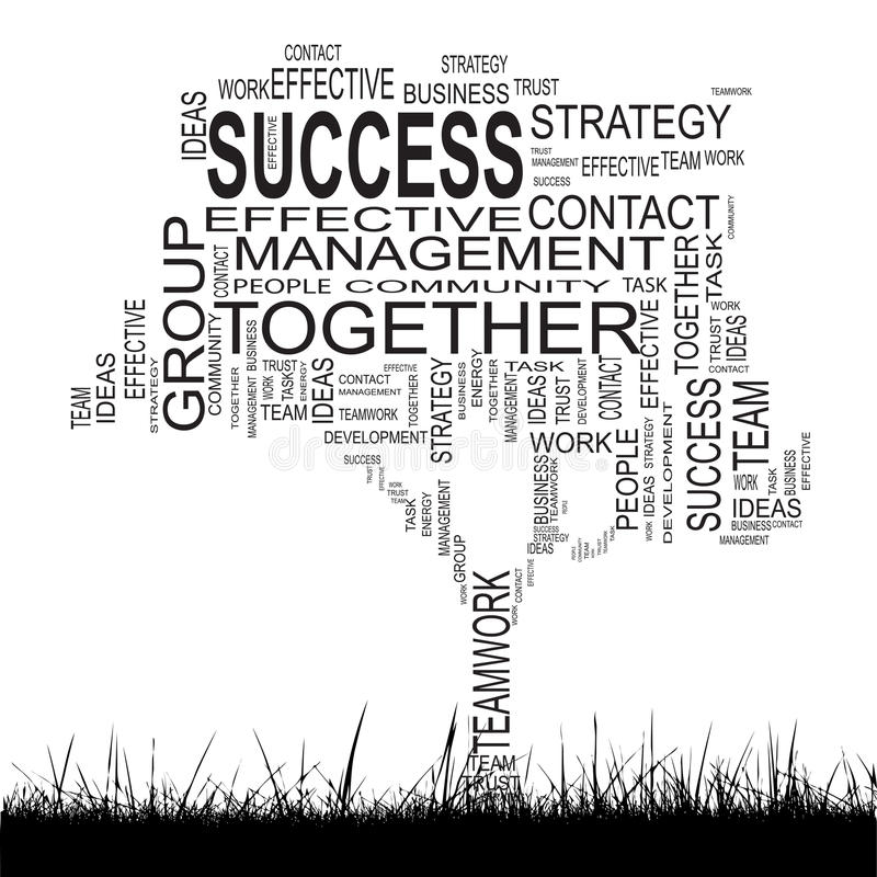 Conceptual business success tree word cloud royalty free illustration