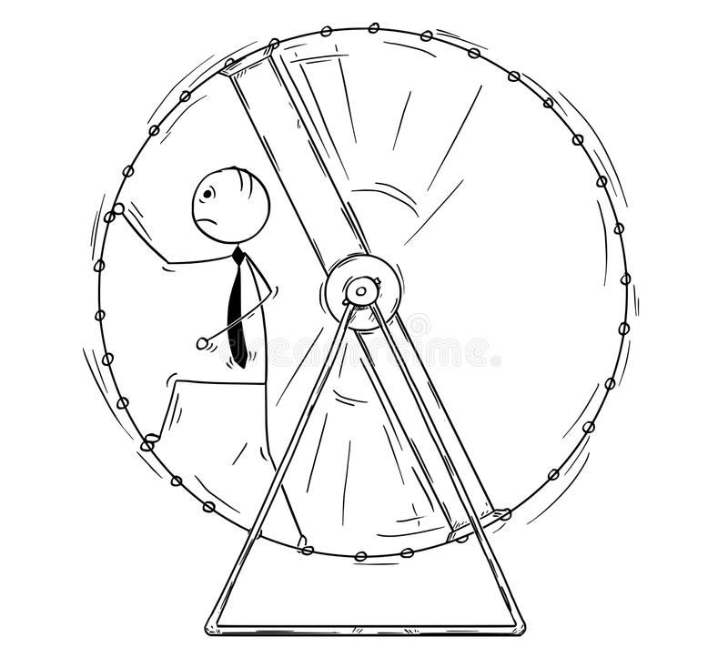Conceptual Cartoon of Business Man running in Squirrel Wheel. Cartoon stick man drawing conceptual illustration of exhausted businessman in squirrel wheel doing royalty free illustration