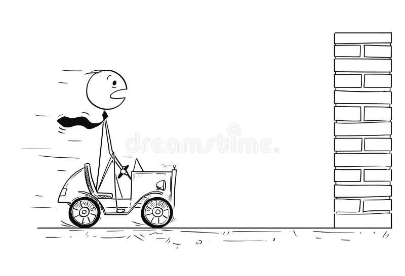 Conceptual Cartoon of Businessman Facing Crisis. Cartoon stick man drawing conceptual illustration of businessman driving small car facing obstacle or problem in royalty free illustration