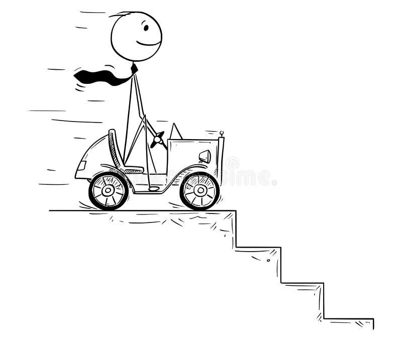 Conceptual Cartoon of Businessman Facing Crisis. Cartoon stick man drawing conceptual illustration of businessman driving small car facing obstacle or problem in vector illustration
