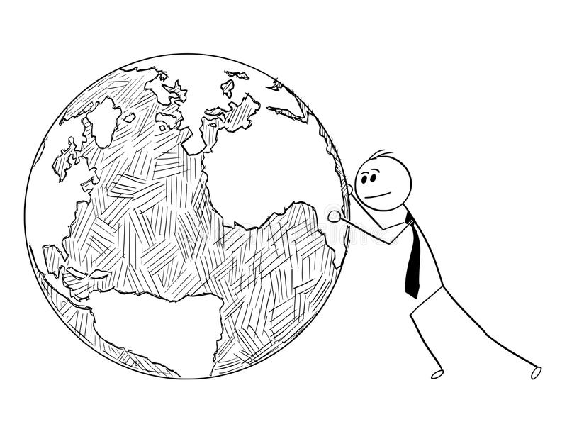 Conceptual Cartoon of Businessman Pushing World Globe. Cartoon stick man drawing conceptual illustration of businessman pushing or rolling world Earth globe stock illustration