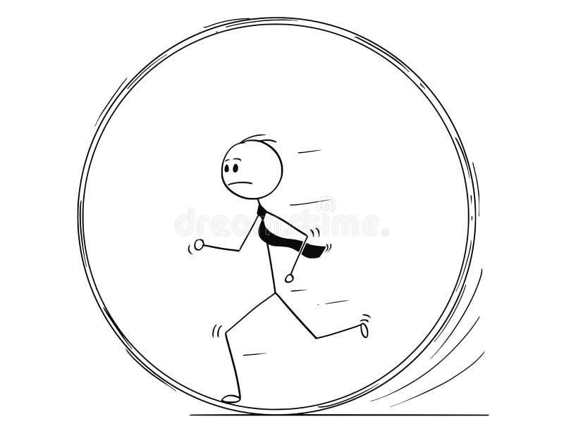 Conceptual Cartoon of Businessman Running in Squirrel Wheel. Cartoon stick man drawing conceptual illustration of businessman running in squirrel wheel or in stock illustration