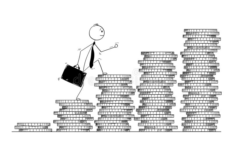 Conceptual Cartoon of Businessman Walk or Climb Coin Piles. Cartoon stick man drawing conceptual illustration of businessman walk coin piles as stairs. Business vector illustration