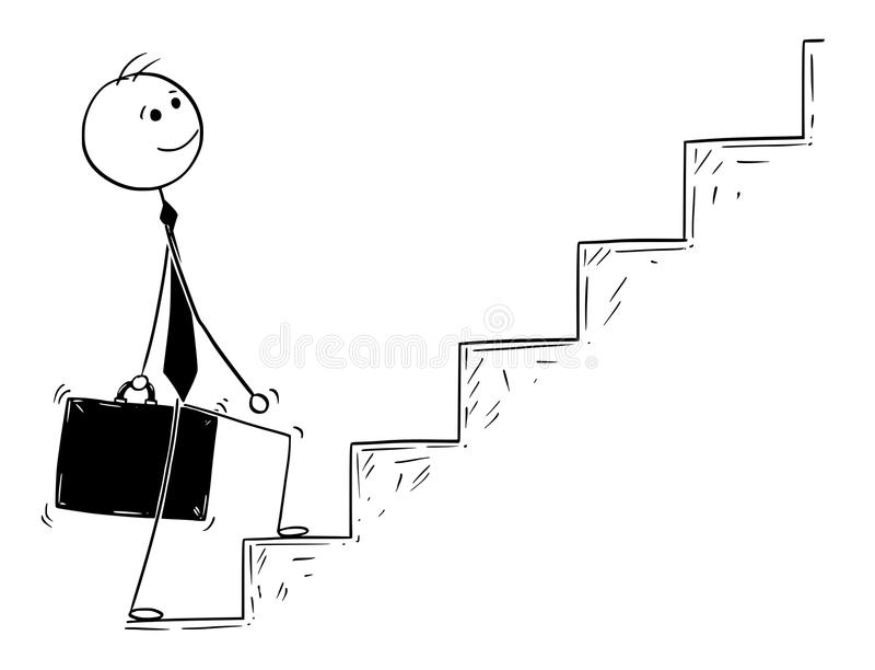 Conceptual Cartoon of Businessman Walking Up Stairs. Cartoon stick man drawing conceptual illustration of businessman ready to walk or climb the stairs vector illustration