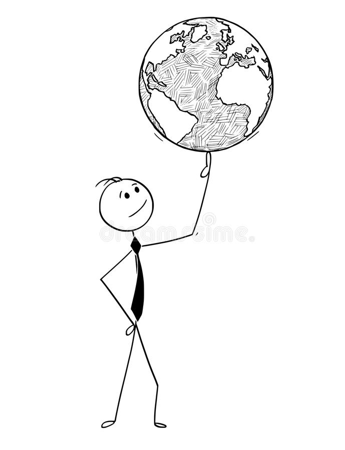 Conceptual Cartoon of Businessman with World Globe on Finger. Cartoon stick man drawing conceptual illustration of businessman with world earth globe on finger vector illustration