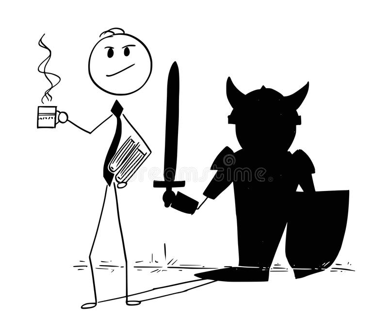 Conceptual Cartoon of Confident Businessman and Hero Knight Shadow. Cartoon stick man drawing conceptual illustration of confident businessman with coffee or tea stock illustration