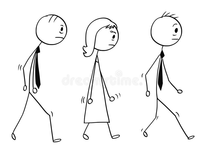 Conceptual Cartoon of Sad or Tired Business People Walking. Cartoon stick man drawing conceptual illustration of team of three sad or tired business people royalty free illustration