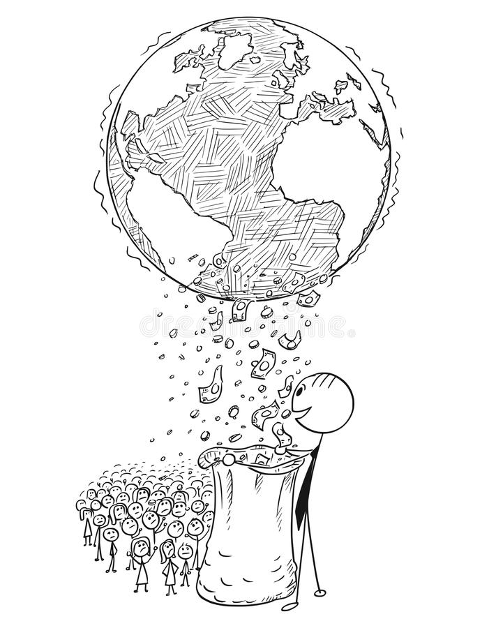 Conceptual Cartoon of World Wealth Distribution Between Rich and Poor vector illustration
