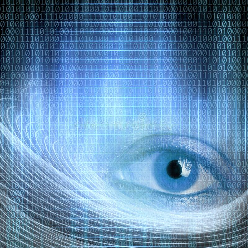 Conceptual close up open eye in abstract structural lights with. Binary code stock illustration