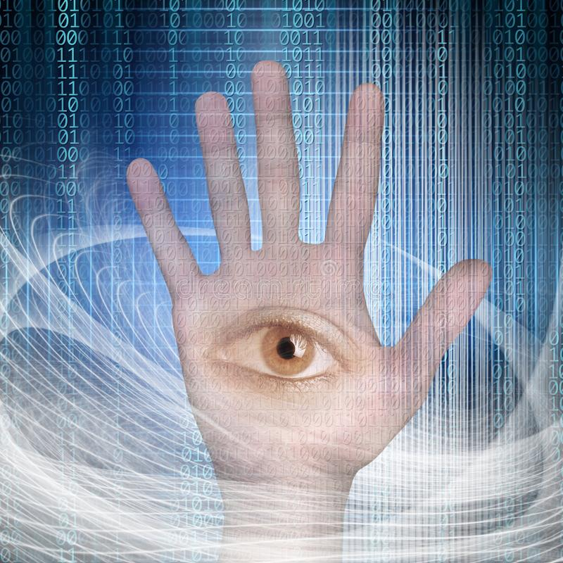 Conceptual close up open eye in palm of hand and binary code over abstract structural lights royalty free illustration