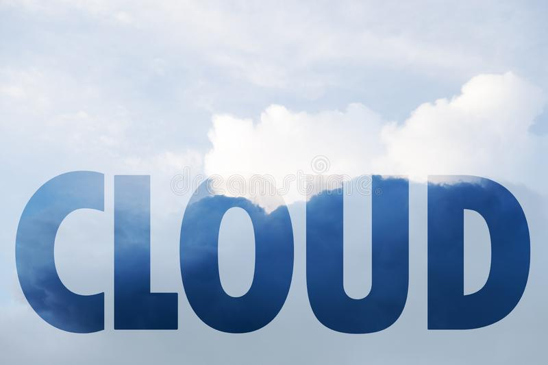 Conceptual collage in form of word cloud. Word from photo of cloud on bright background royalty free stock photos