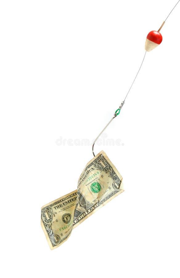 Conceptual. Conta de dólar em um gancho imagens de stock