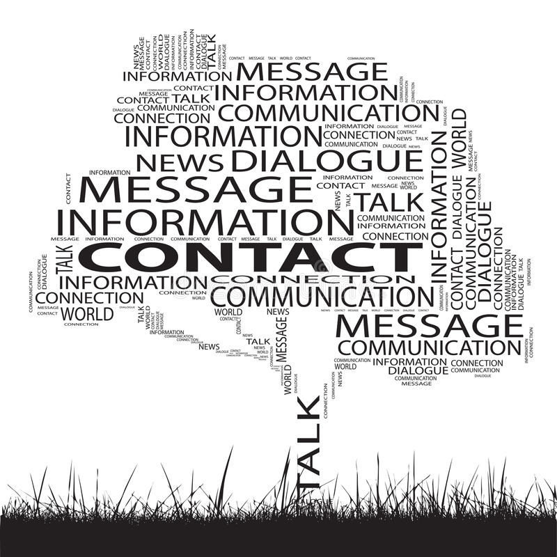 Conceptual contact technology tree word cloud. Grass background royalty free illustration