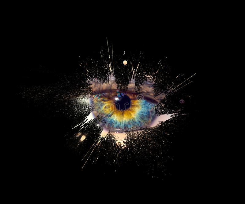 Conceptual creative photo of a female eye close-up in the form of splashes, explosion and dripping paint isolated on a black stock photos