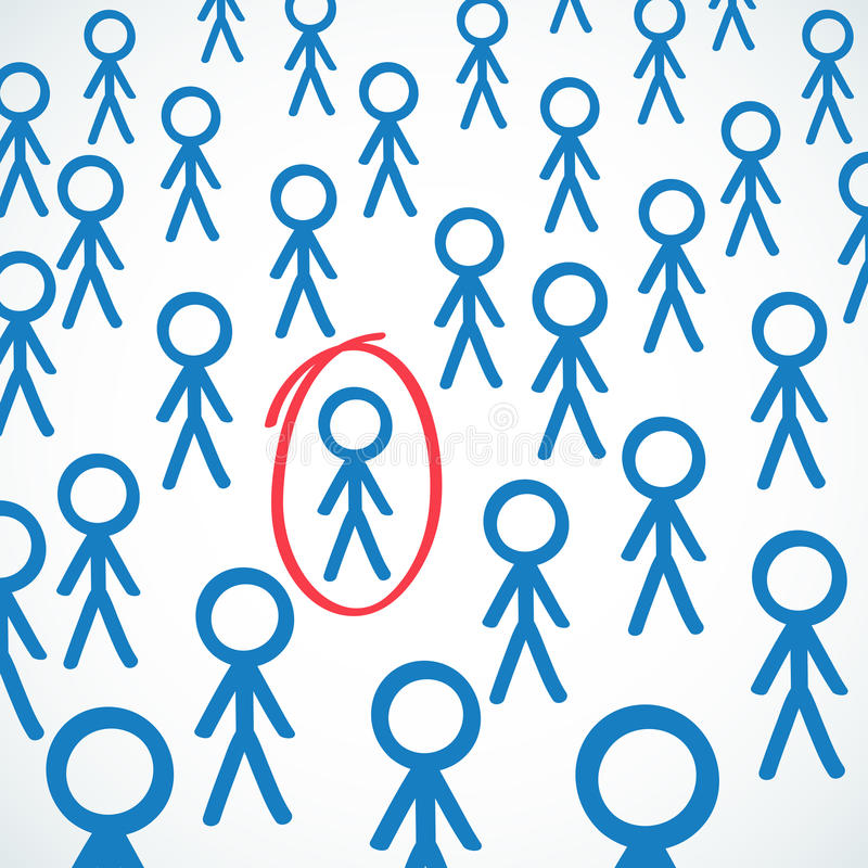 Conceptual: Crowd of stick figures one circled royalty free illustration
