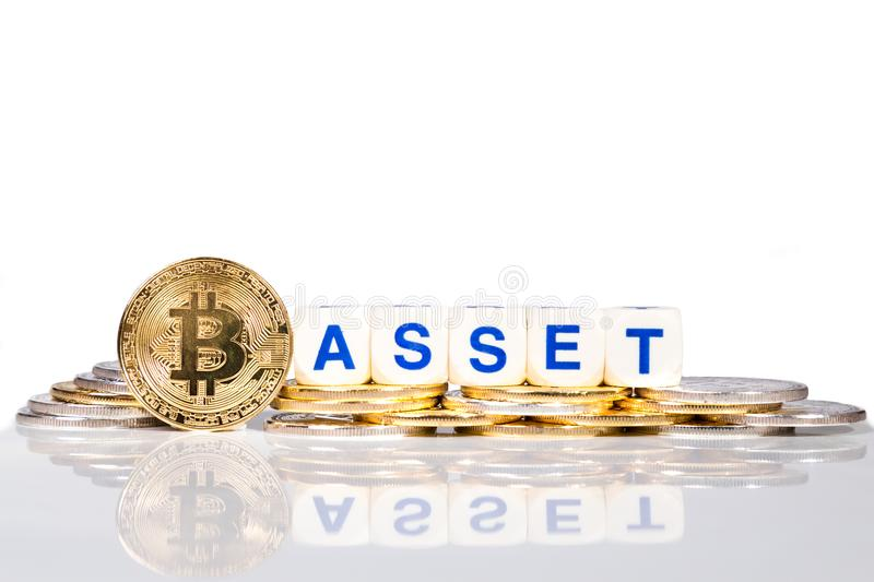 Conceptual cryptocurrency bitcoin with the word Asset. On white background stock photos