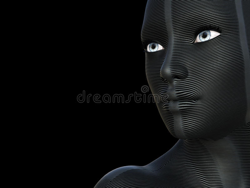 Conceptual 3D beautiful caucazian young woman with a creative futuristic mask or body paint on her face. white and blue eyes royalty free illustration