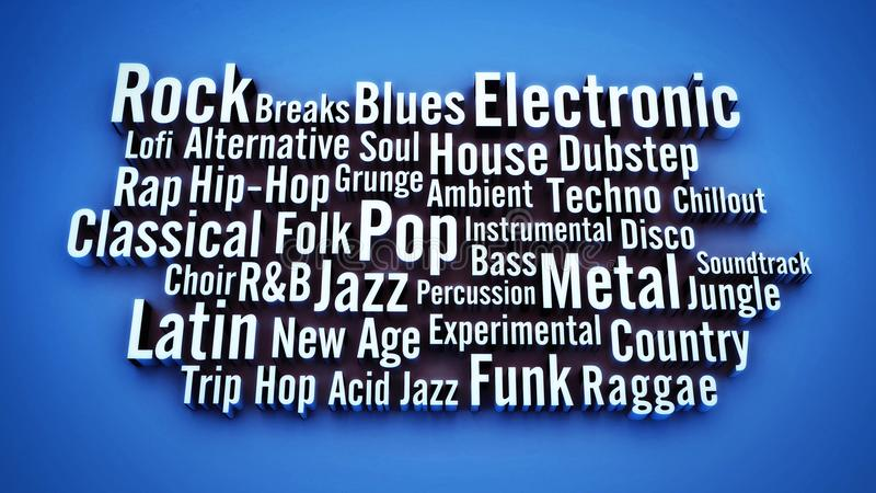 Conceptual 3D music genres background theme royalty free stock images