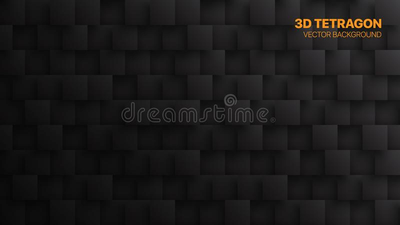 Conceptual 3D Vector Square Blocks Technological Dark Abstract Background vector illustration