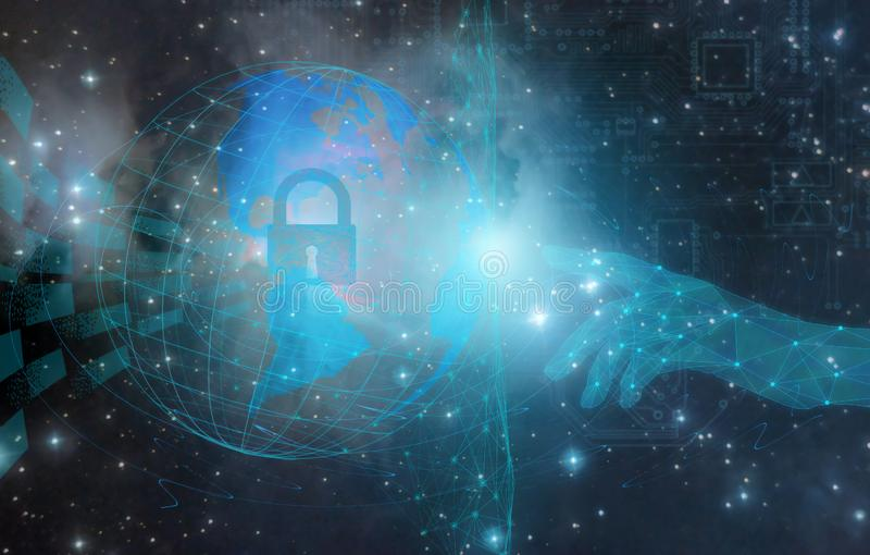 Conceptual design and design on the protection and security of the Internet and personal data using artificial intelligence techno. Logies stock images