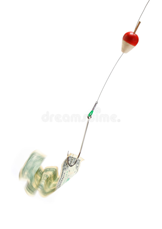 Conceptual. Dollar bill in a hook royalty free stock photography