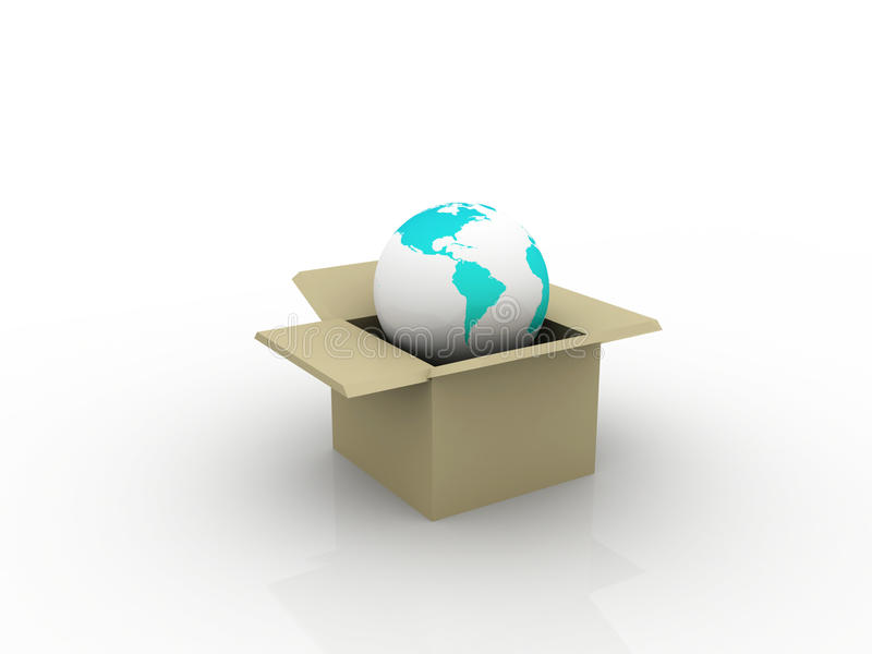 Conceptual Earth Box In A Box Stock Photo