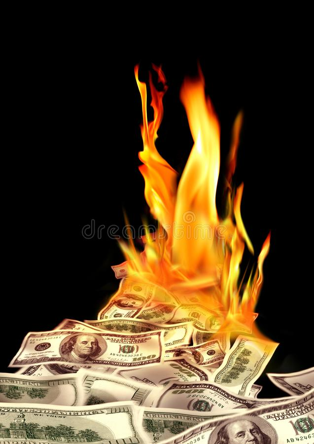 Free Conceptual Finance Image Of Burning Pile Of Money, Dollar Bills, And Fire Flames In Black Background Royalty Free Stock Photos - 128796148
