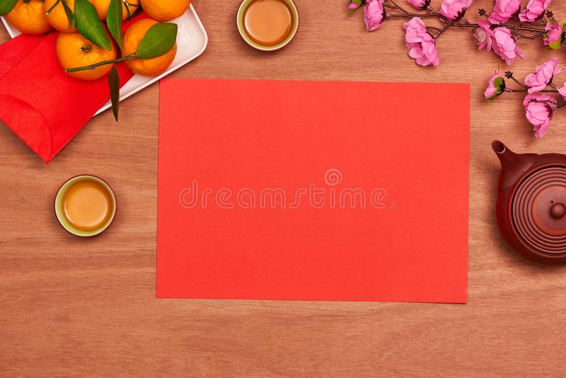 Conceptual flat lay Chinese New Year food and drink still life. Conceptual flat lay Chinese New Year food and drink still life stock photo