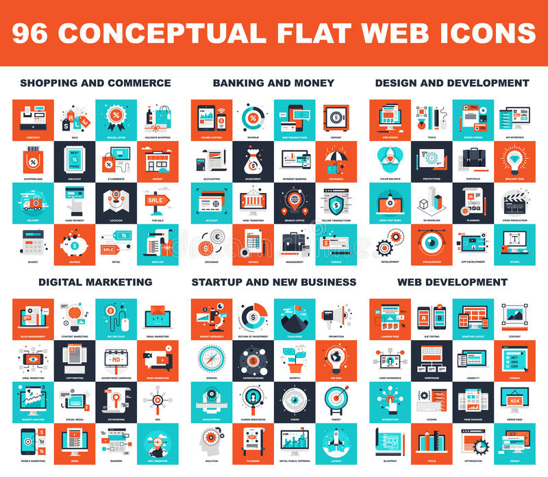 Conceptual Flat Web Icons vector illustration
