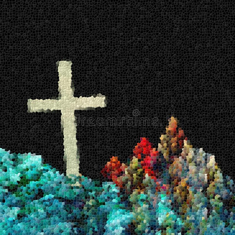 Conceptual fractal illustration of cross in mountains royalty free stock images