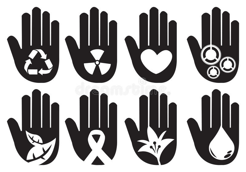 Conceptual Hand Symbols Illustration vector illustration
