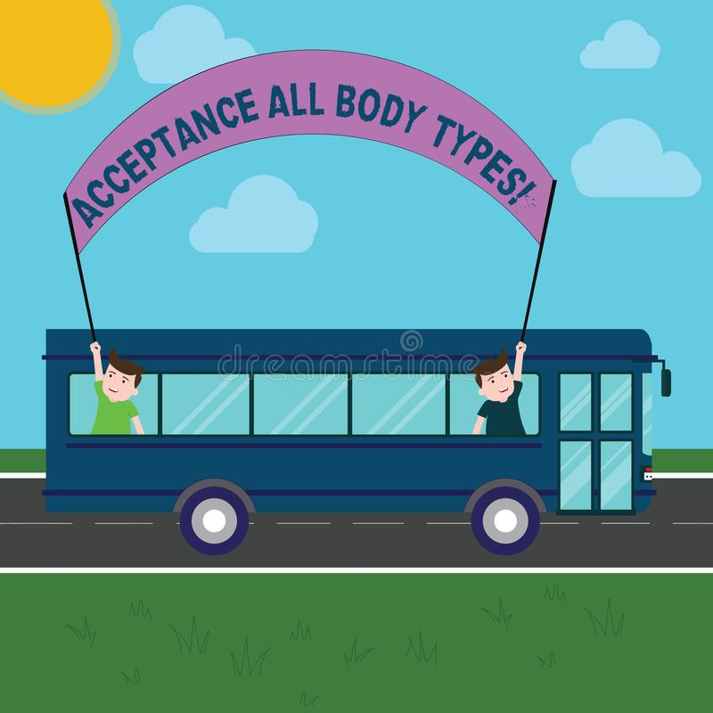 Conceptual hand writing showing Acceptance All Body Types. Business photo showcasing Selfesteem do not judge showing for royalty free illustration