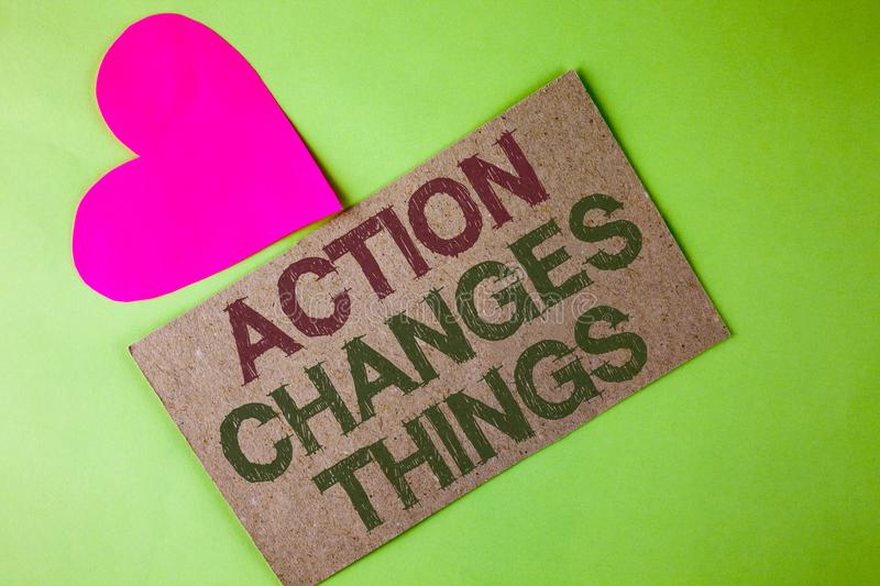 Conceptual hand writing showing Action Changes Things. Business photo text doing something is like chain Improve Reflects written. Cardboard Piece the plain royalty free stock photos