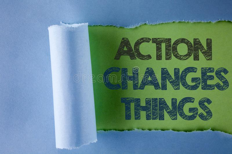 Conceptual hand writing showing Action Changes Things. Business photo text doing something is like chain Improve Reflects written. Under Tear Folded paper plain royalty free stock photos