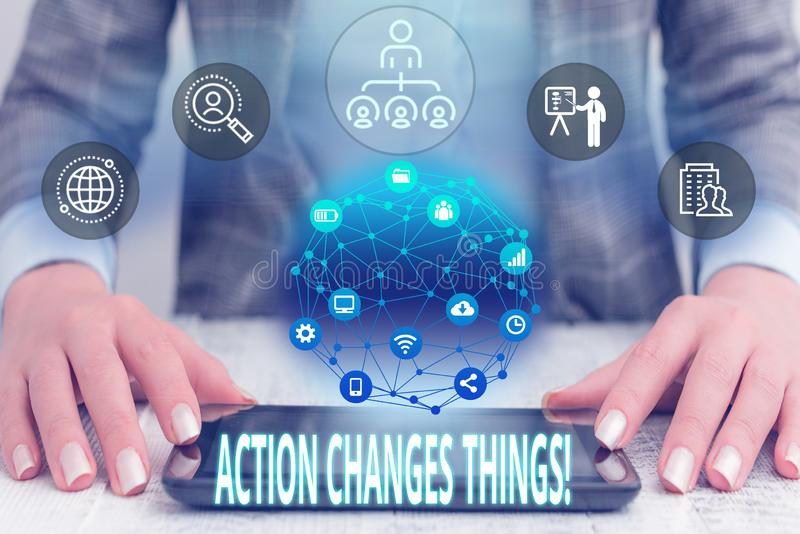Conceptual hand writing showing Action Changes Things. Business photo text start doing something against problem resolve stock photo