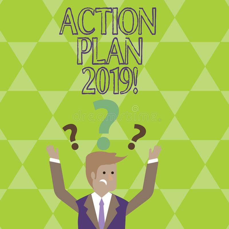 Conceptual hand writing showing Action Plan 2019. Business photo showcasing Challenge Ideas Goals for New Year. Conceptual hand writing showing Action Plan 2019 royalty free illustration