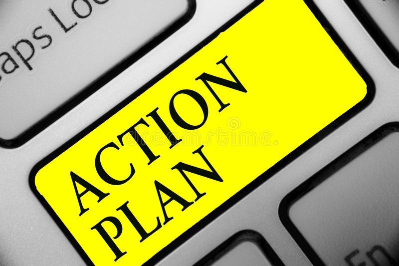 Conceptual hand writing showing Action Plan. Business photo showcasing list of things or schedule to be made thia current year Key. Board yellow key computer royalty free stock photo