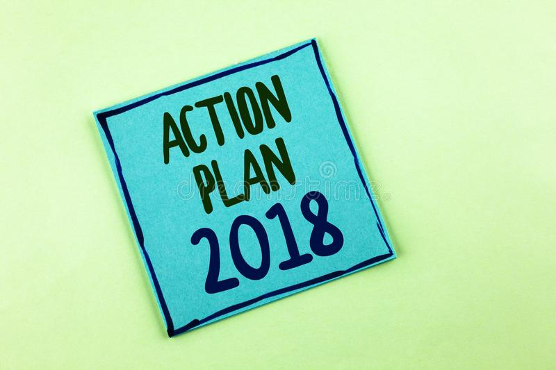 Conceptual hand writing showing Action Plan 2018. Business photo showcasing to do list in new year New year resolution goals Targe. Ts written Sticky Note Paper royalty free stock photography