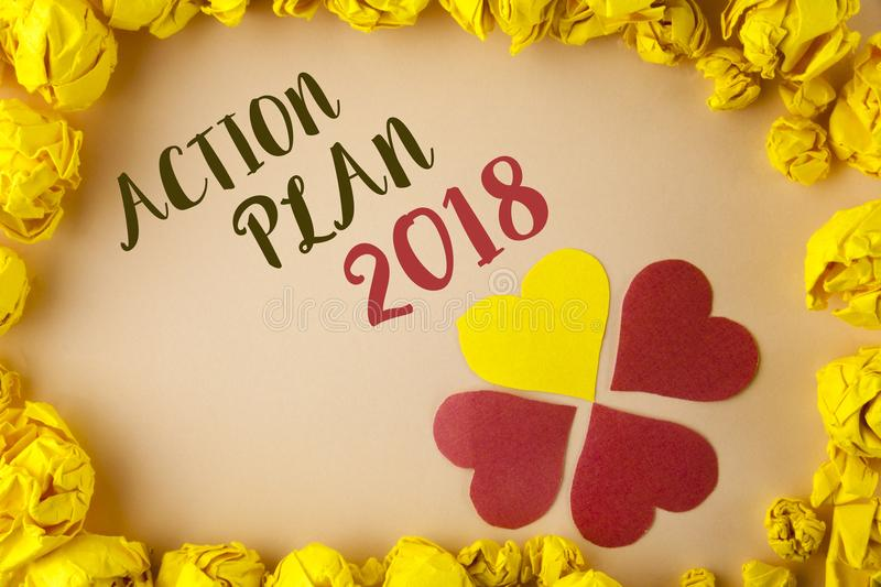 Conceptual hand writing showing Action Plan 2018. Business photo showcasing to do list in new year New year resolution goals Targe. Ts written plain background royalty free stock photos