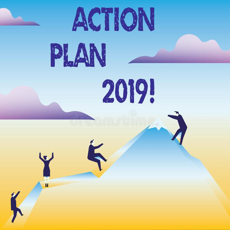 Conceptual hand writing showing Action Plan 2019. Business photo text Challenge Ideas Goals for New Year Motivation to. Conceptual hand writing showing Action stock illustration