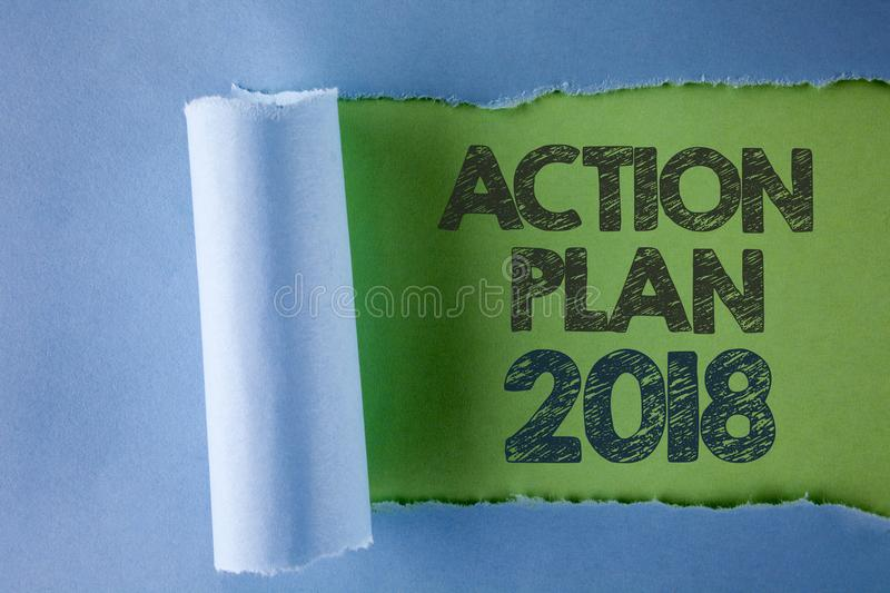 Conceptual hand writing showing Action Plan 2018. Business photo text to do list in new year New year resolution goals Targets wri. Tten under Tear Folded paper royalty free stock photography